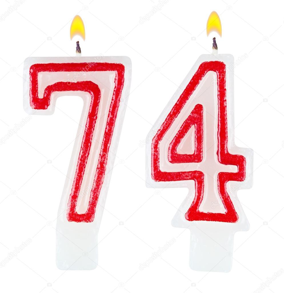 Birthday Candles Number Seventy Four Isolated On White Background Foto Von Vladvm