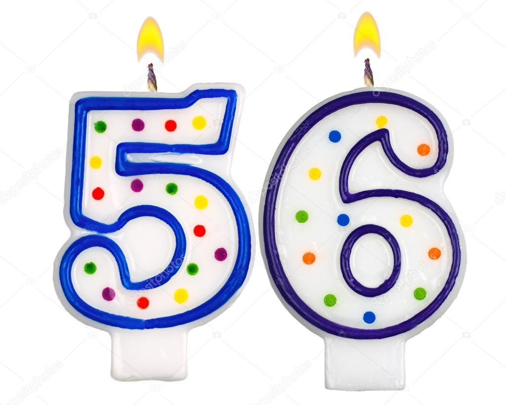 Birthday Candles Number Fifty Six Isolated On White Background Photo By