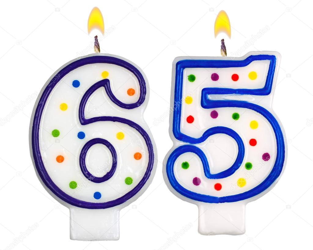 Birthday Candles Number Sixty Five Isolated On White Background Photo By