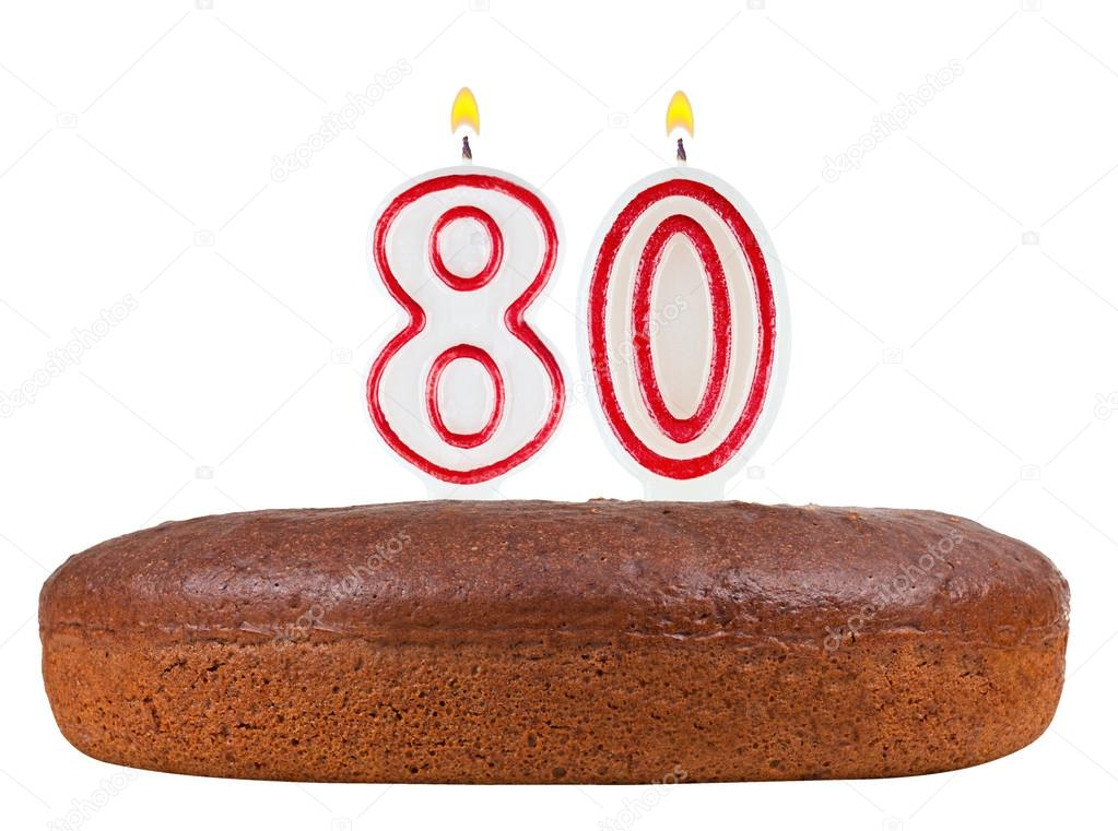 Birthday Cake Candles Number 80 Isolated Stock Photo
