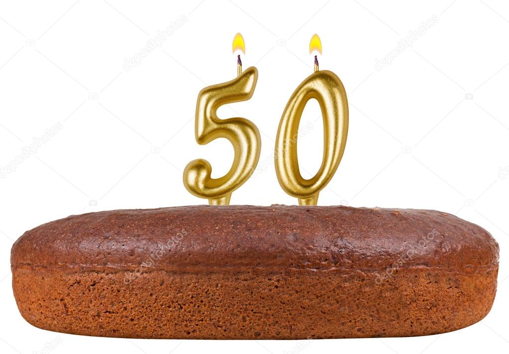 Birthday Cake With Candles Number 50 Isolated On White Background Photo By