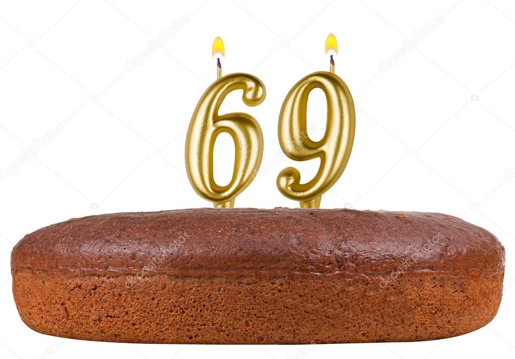 Birthday Cake With Candles Number 69 Isolated Stock Photo Vladvm