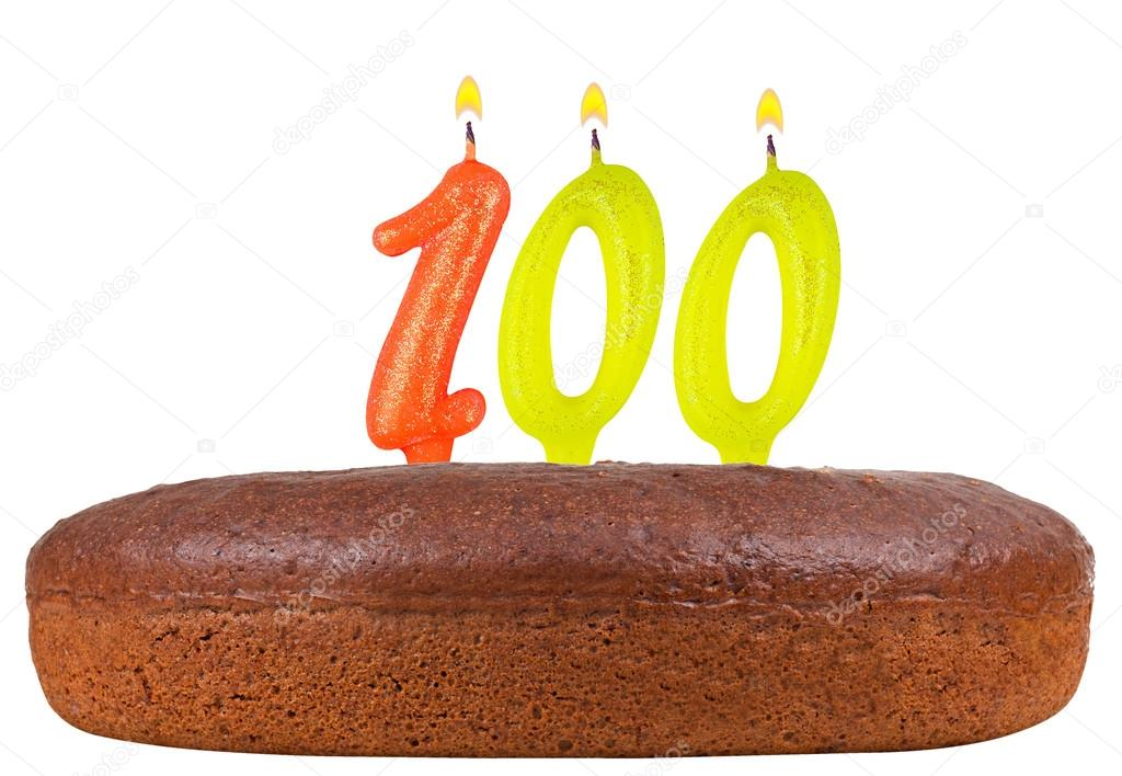 Birthday Cake Candles Number 100 Isolated Stock Image