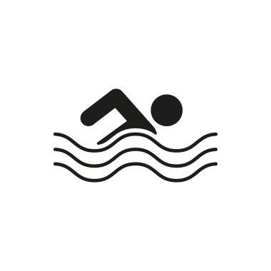 Swimming icon. Swimmer symbol. Flat