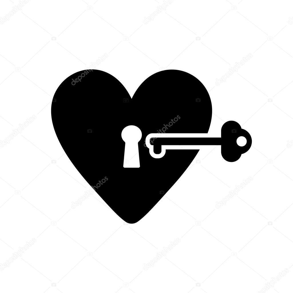 The Heart And Key Icon Heart And Key Symbol Stock Vector Vladvm