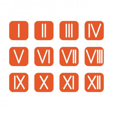 Set Roman numerals 1-12 icon. vector