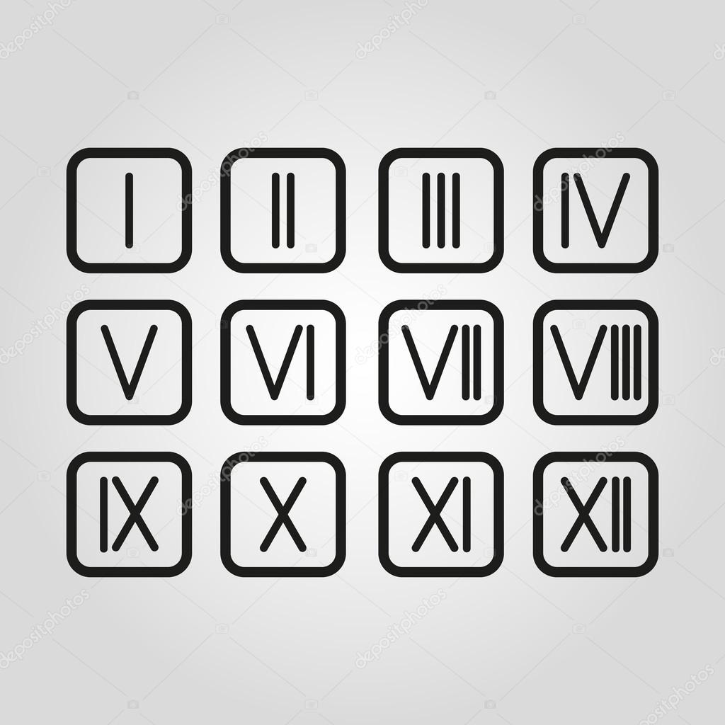 Set Roman numerals 1-12 icon — Stock Vector © Vladvm #72287883