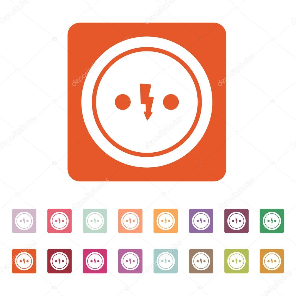 The Electrical Outlet Icon Socket Symbol Flat Vector Illustration Button Set By Vladvm