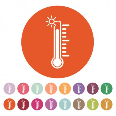 The thermometer icon. High temperature symbol. Flat Vector illustration. Button Set. clip art vector