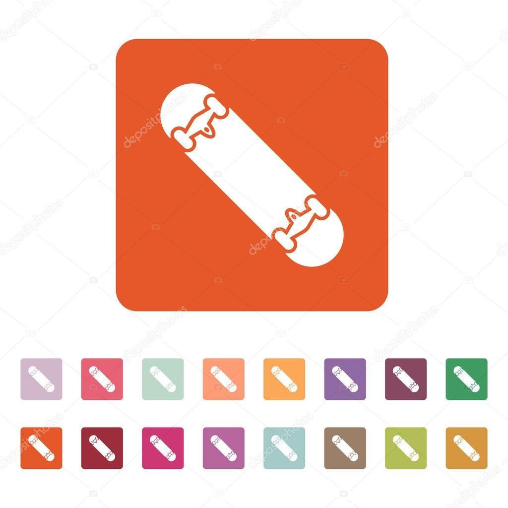 The Skateboard Icon Skateboarding Symbol Flat Stock Vector