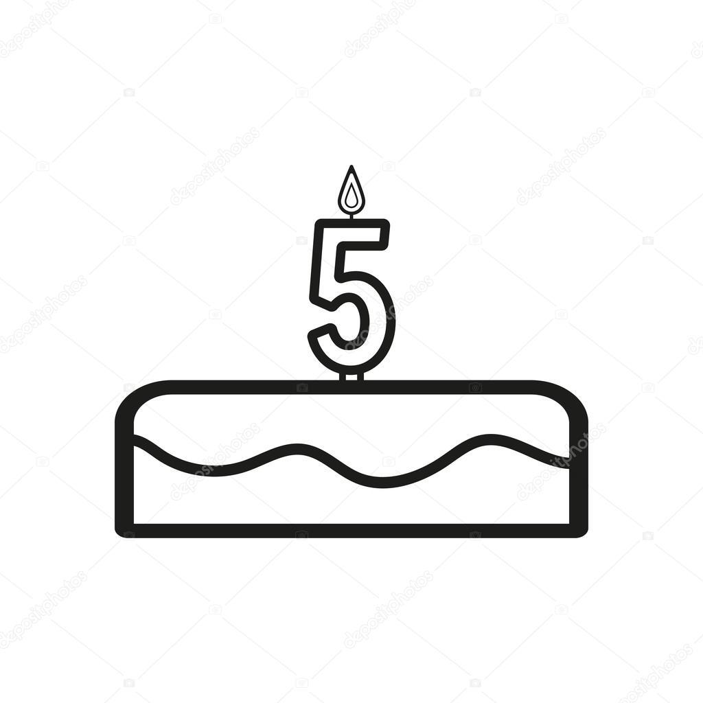Torta Con Le Candele A Forma Di Icona Di Numero 5 Vettoriali Stock