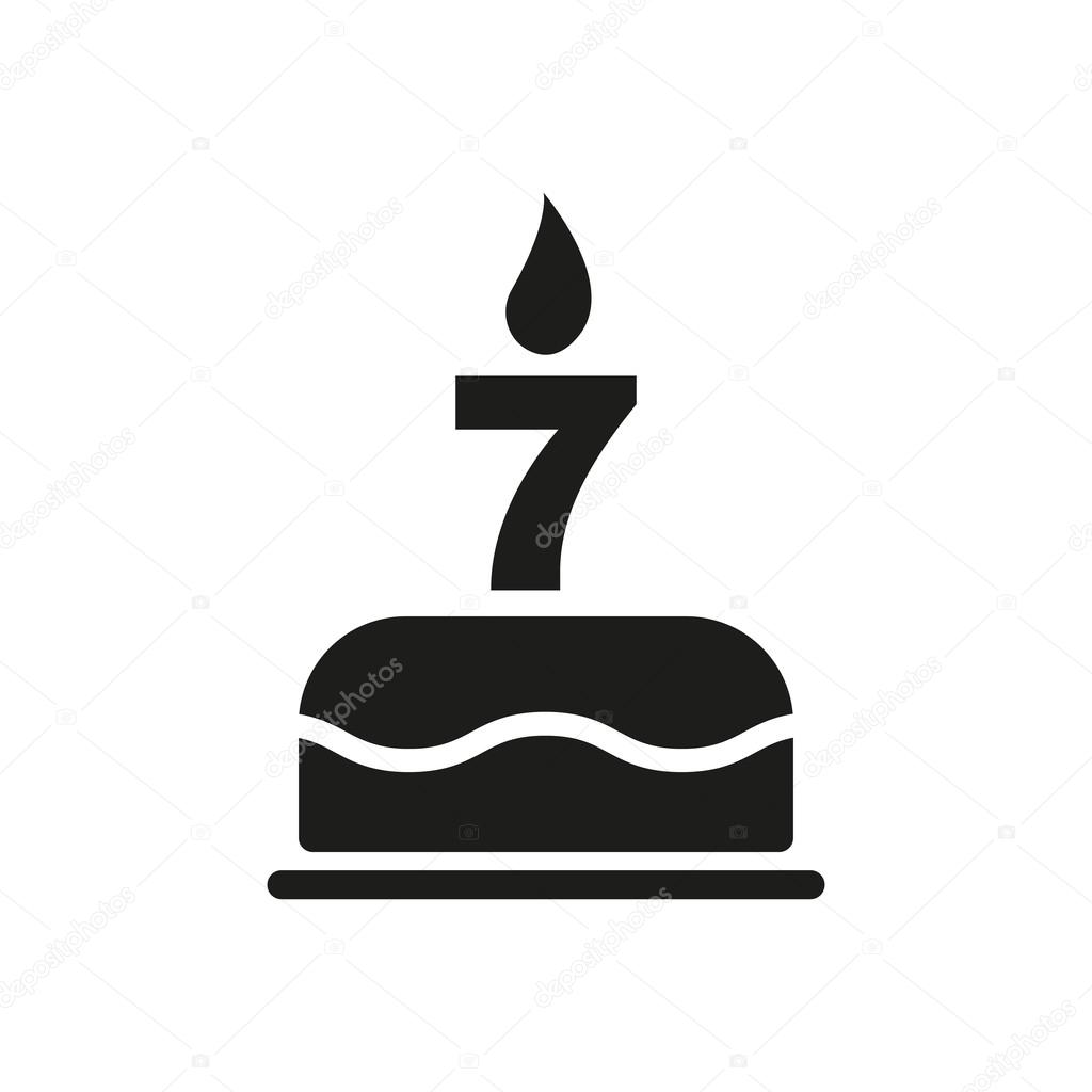 The Birthday Cake With Candles In Form Of Number 7 Icon Symbol