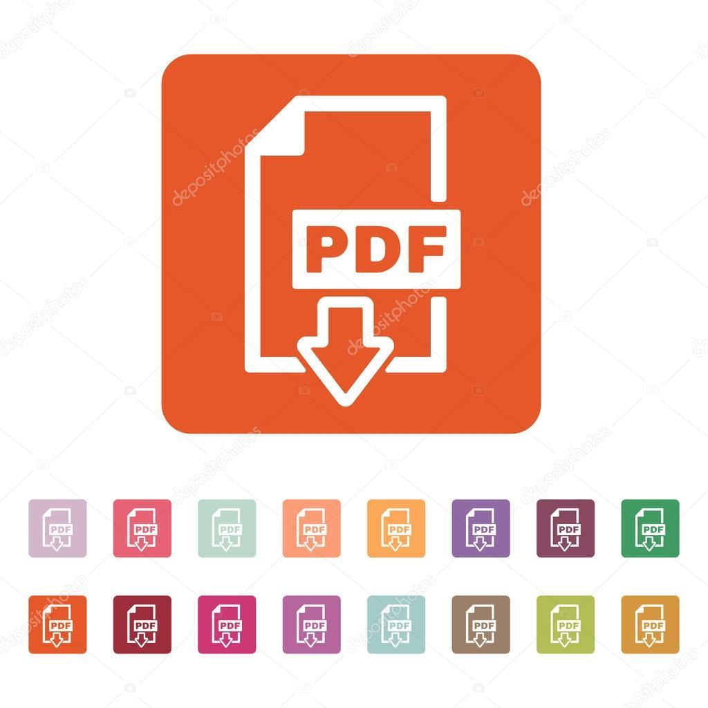 The PDF icon. File format symbol. Flat