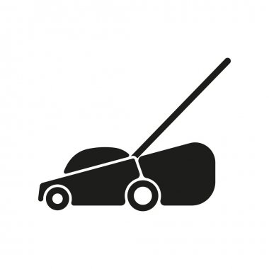The lawn mower icon. Grass symbol. Flat