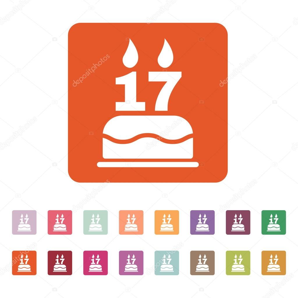 The birthday cake with candles in the form of number 17 icon. Birthday symbol. Flat