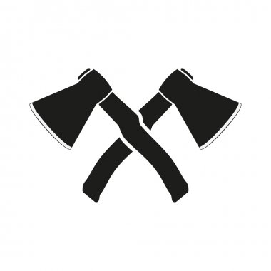 The crossed axes icon. Axe and hack symbol. Flat