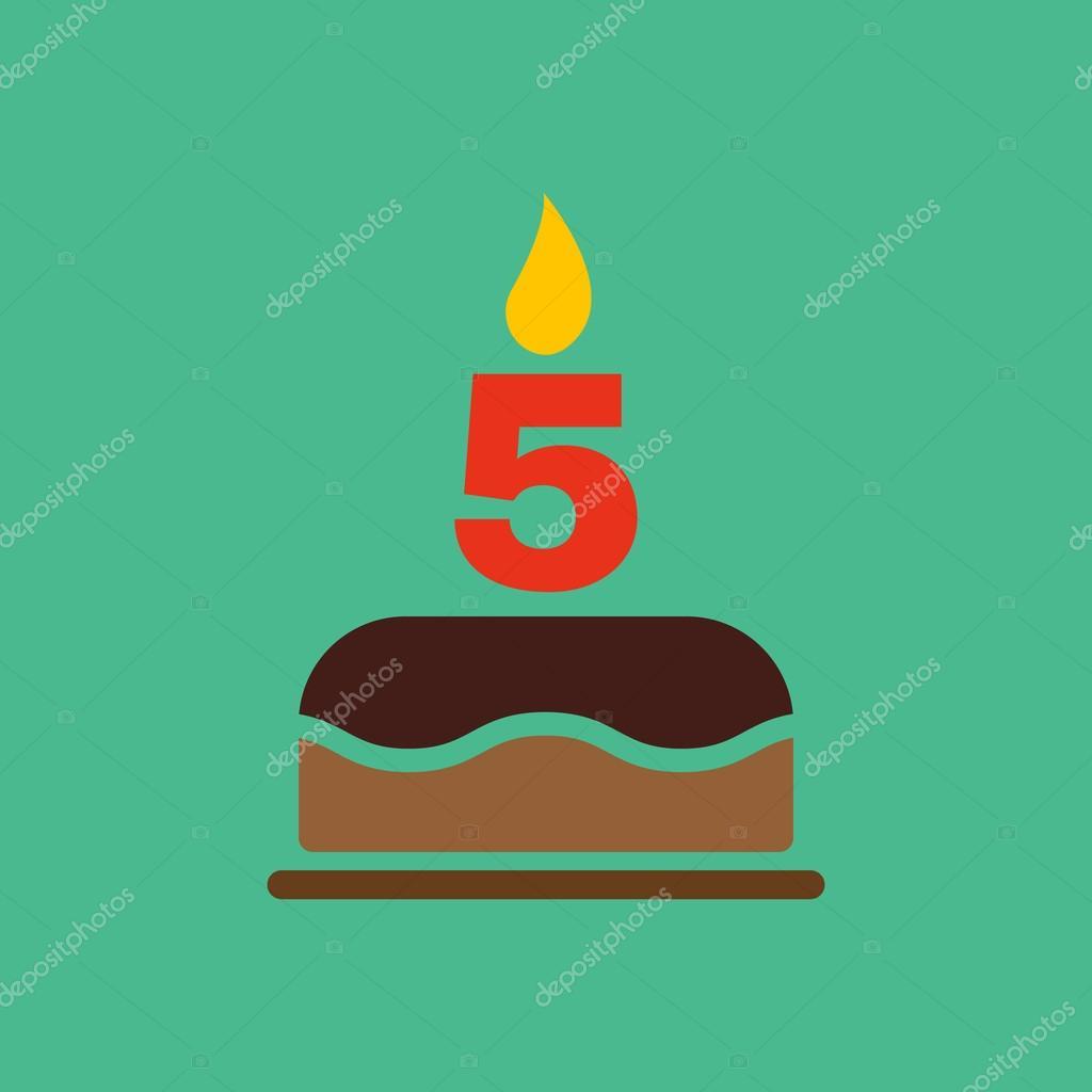 La Torta Di Compleanno Con Le Candele A Forma Di Icona Di Numero 5