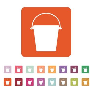 The bucket icon. Pail and bucketful symbol. Flat