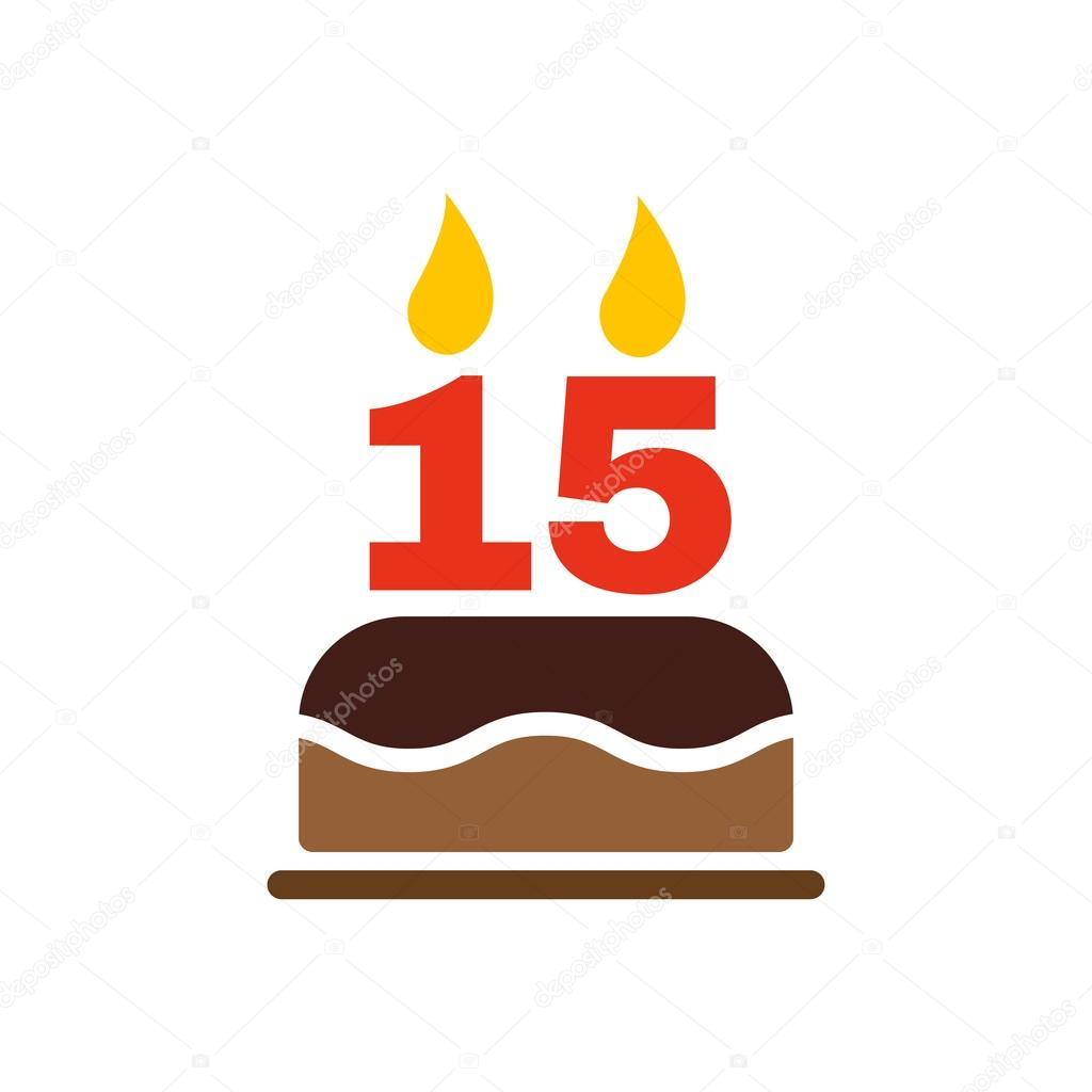 The Birthday Cake With Candles In Form Of Number 15 Icon Symbol