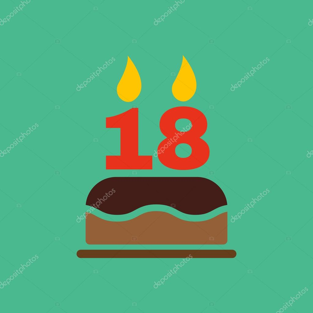 The Birthday Cake With Candles In The Form Of Number 18 Icon