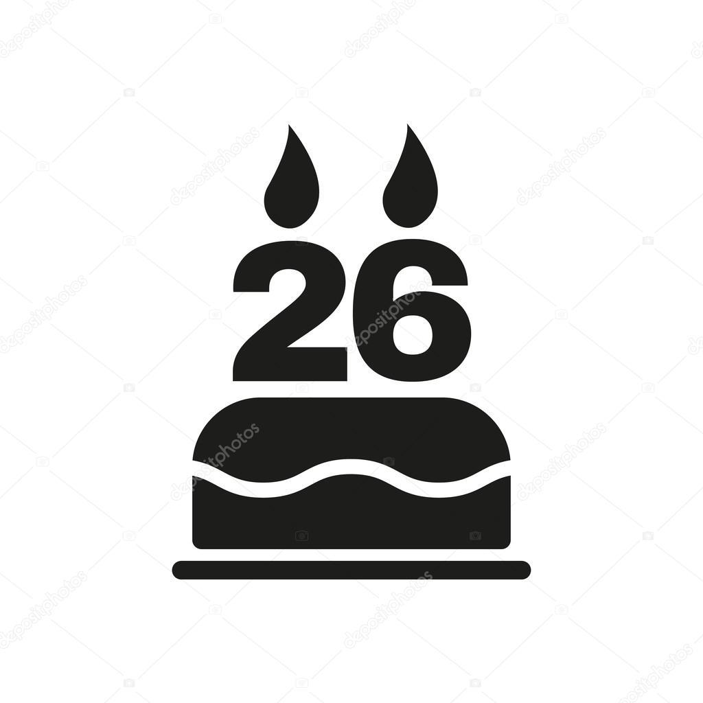 f08eb236856ca El pastel de cumpleaños con velas en forma de icono número 26. Símbolo de  cumpleaños