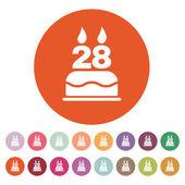 A születésnapi torta gyertyákkal száma 28 ikon formájában. Születésnapi szimbólum. Lakás