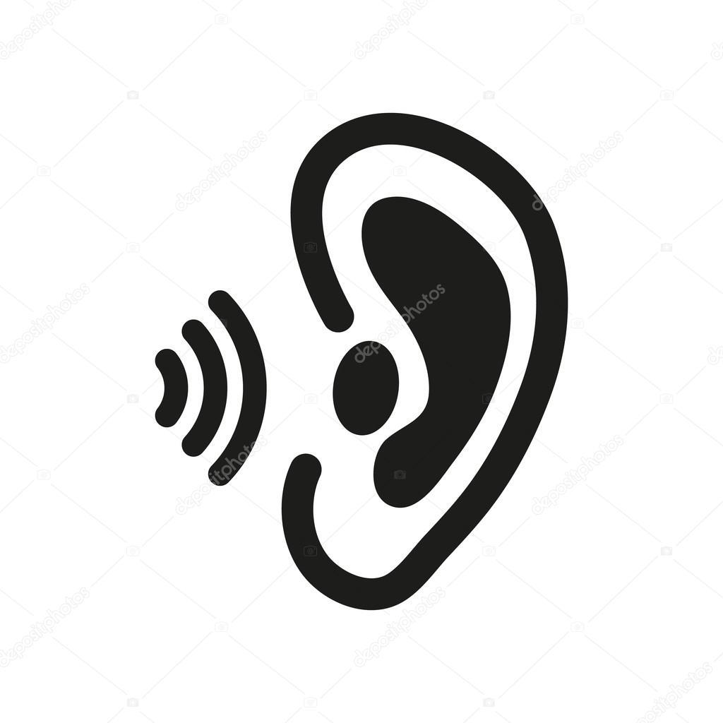 Das Ohr-Symbol. Spüren Sie Orgel zu und hören Sie, verstehen Sie ...