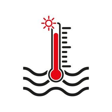 The warm water temperature icon. Hot liquid symbol. Flat Vector illustration clip art vector