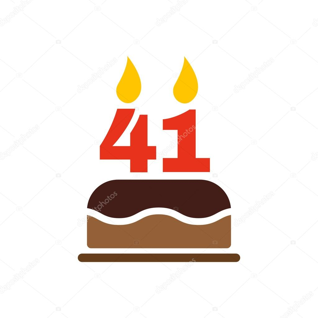 The birthday cake with candles in the form of number 41 icon. Birthday  symbol.