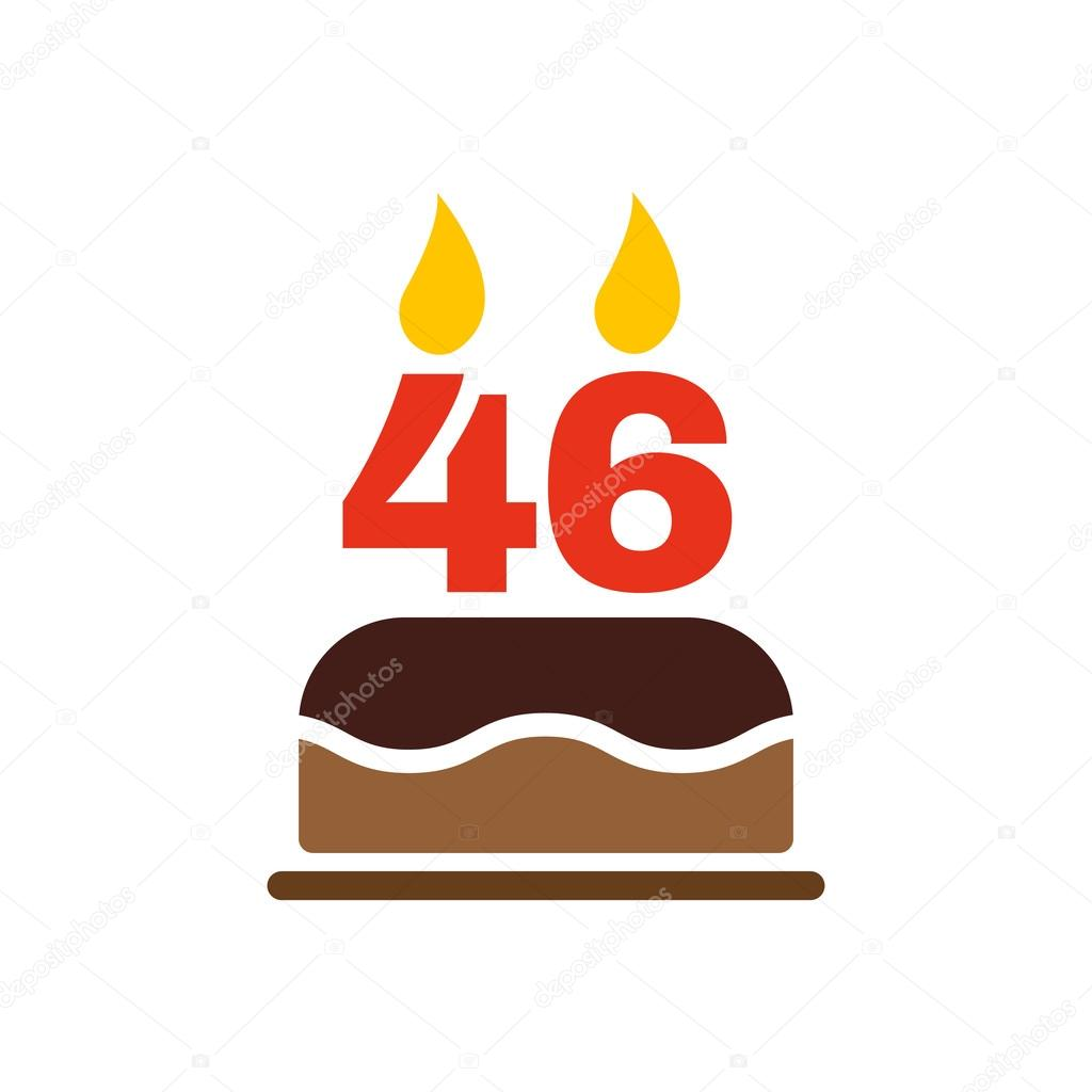 The Birthday Cake With Candles In The Form Of Number 46