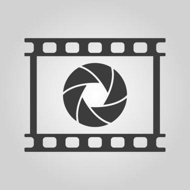 The camera icon. Photo and diaphragm, photographer, film symbol. Flat