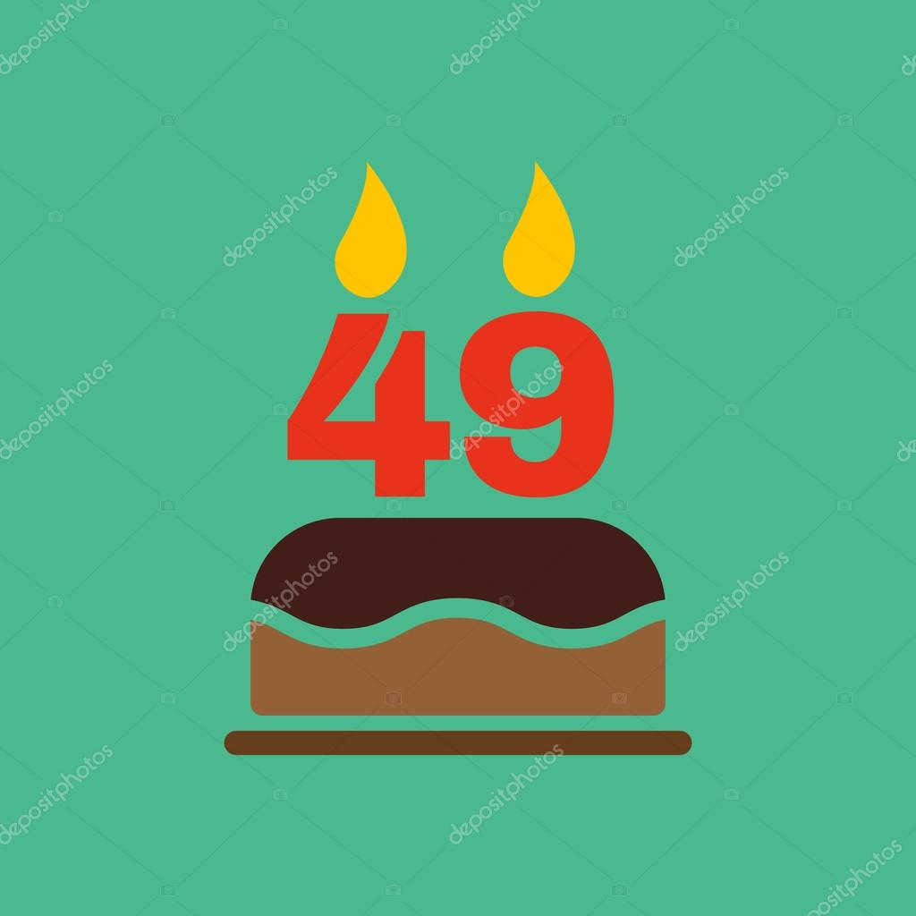 The Birthday Cake With Candles In The Form Of Number 49 Icon