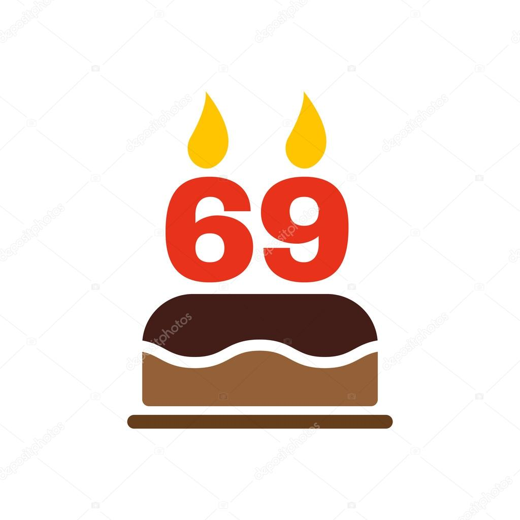 The Birthday Cake With Candles In The Form Of Number 69 Icon