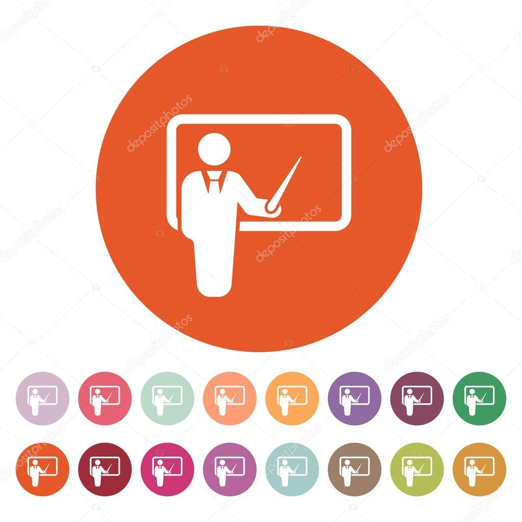 l u0026 39 ic u00f4ne de l u0026 39 enseignant  formation et pr u00e9sentation  s u00e9minaire  symbole d u0026 39 apprentissage  plat