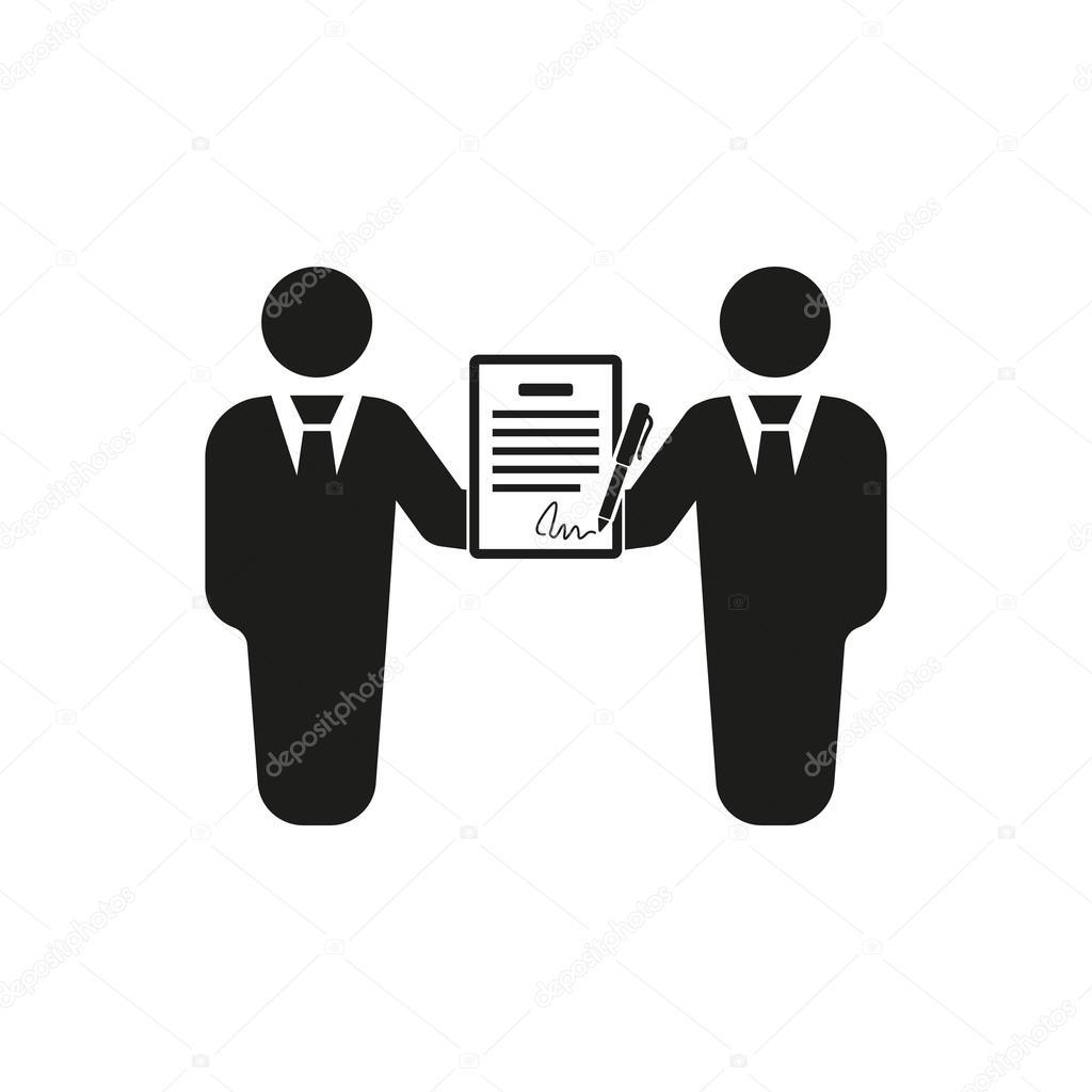 Der Vertrag-Symbol. Zustimmung und Unterschrift, Pakt, Partnerschaft ...