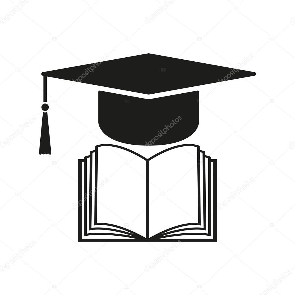 Das Abschluss-GAP und Buch-Symbol. Schule und Universität, lernen ...