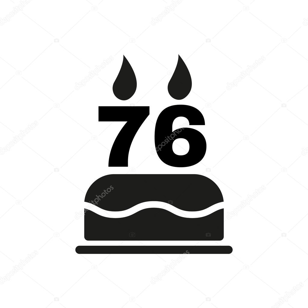 The Birthday Cake With Candles In The Form Of Number 76 Icon