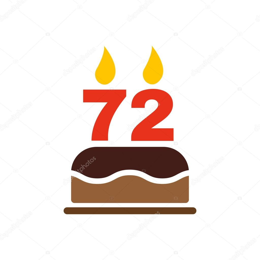 The birthday cake with candles in the form of number 72 icon. Birthday  symbol.
