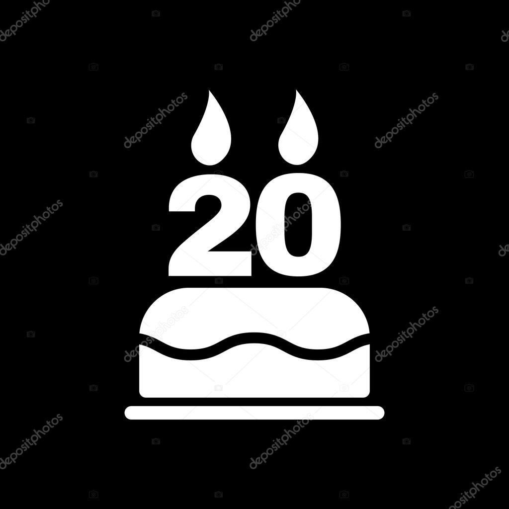 The Birthday Cake With Candles In The Form Of Number 20 Icon