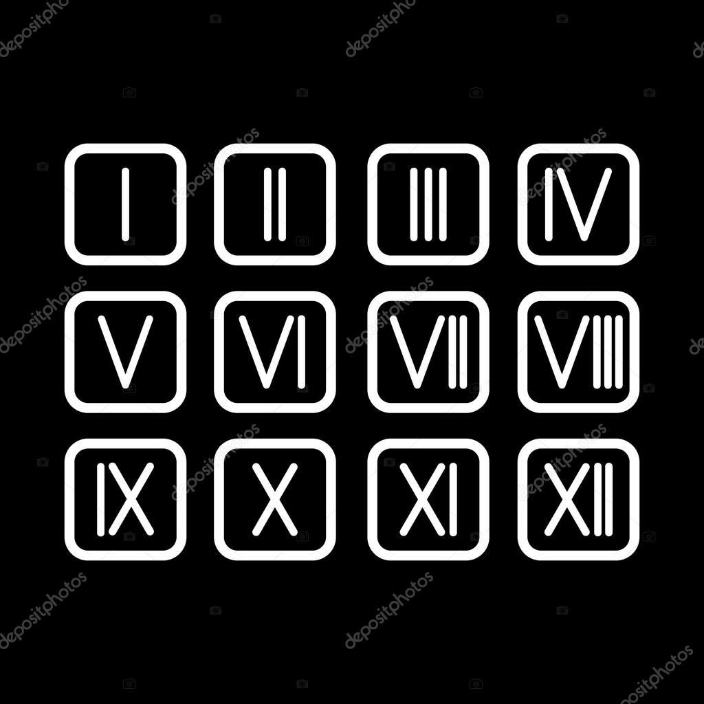 Establecer Números Romanos 1 12 Icono Vector De Stock Vladvm