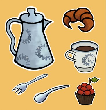 English tea ceremony vector illustration