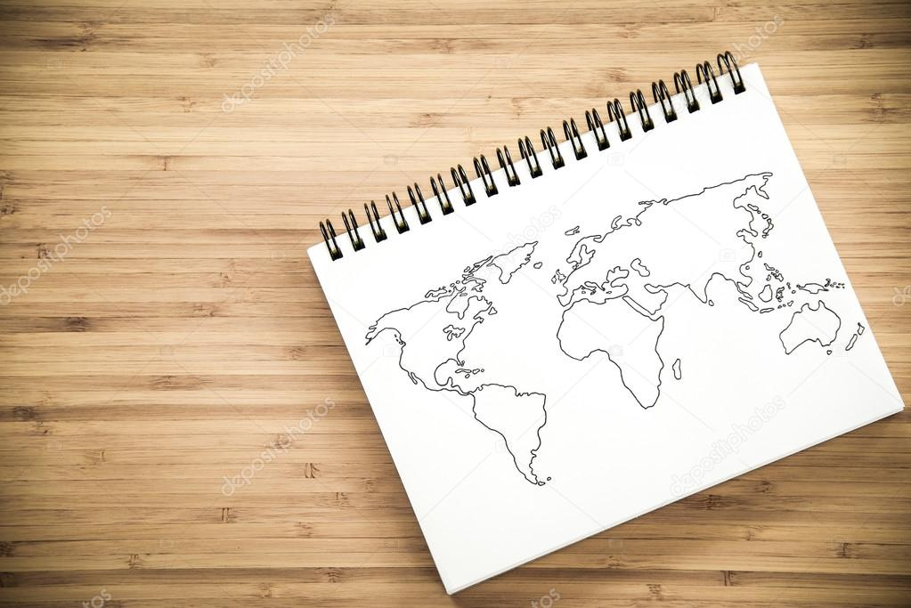 World map outline on notebook stock photo zephyr18 121805074 world map outline on notebook stock photo gumiabroncs