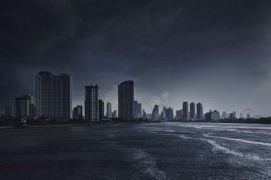 Chao Praya river with a dark stormy sky