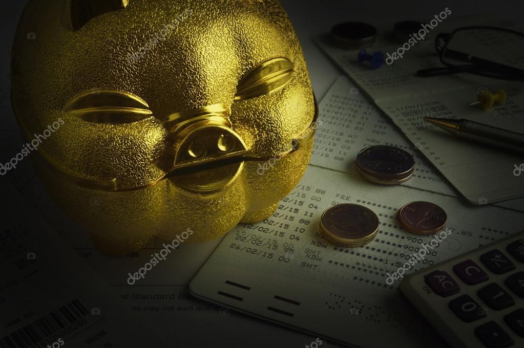 Goldene Sparschwein Mit Euro Münze Auf Konto Buch Speichern