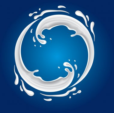 Milk circle splash on blue background