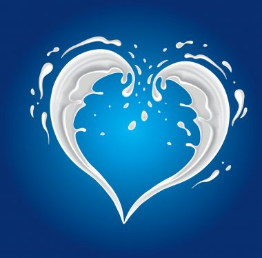 White cream milk splashes moving to each other in shape of heart as symbol of love