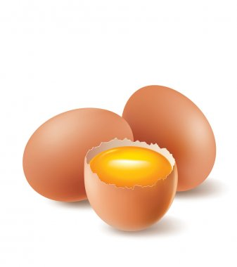 Eggs with broken egg and yolk