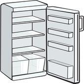 Fényképek Fehér nyitott hűtőszekrény elszigetelt fehér background