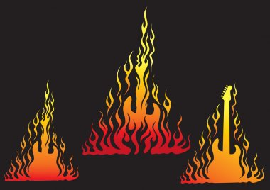 Ilustration of rock guitar in hot flames