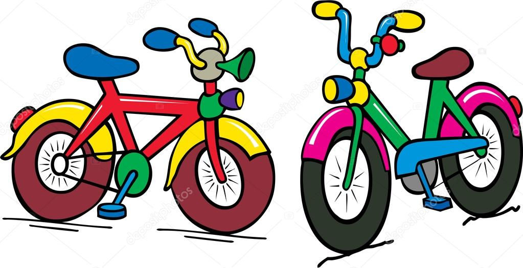 multicolor engraçado dos desenhos animados de bicicleta de crianças